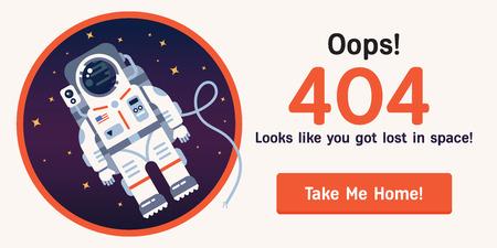Pojęcie błędu 404 strony z austronaut w otwartej przestrzeni między różnymi palnets, komet, gwiazd i statków kosmicznych. Bardzo dobry pomysł. Idealny dla obiektów w ramach konstrukcji. Wektor. Mieszkanie. Ilustracje wektorowe
