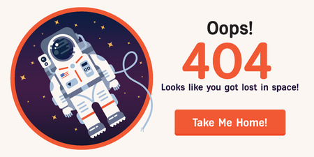 The concept of 404 error web page with austronaut in the open space between different palnets, comets, stars and space ships. Very good idea. Perfect for sites under constructions. Vector. Flat.