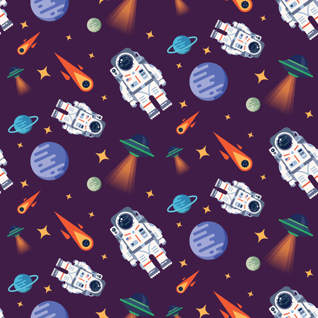 lost in space: Vector seamless pattern with austronaut in the open space between different palnets, comets, stars and space ships. Very good idea. Perfect for sites under constructions. Vector. Flat.