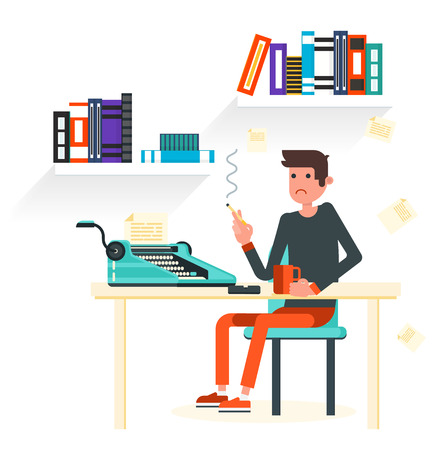 writer: Writer ssits by the table and writing a new story. Retro vintage style. Indoor illustration. Vector flat design. Flat character - writer.