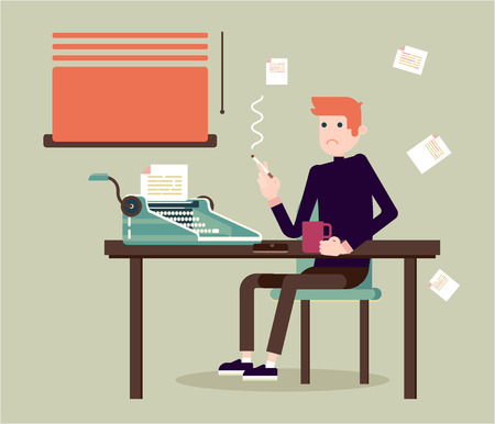 retro illustration: Writer ssits by the table and writing a new story. Retro vintage style. Indoor illustration. Vector flat design. Flat character - writer.