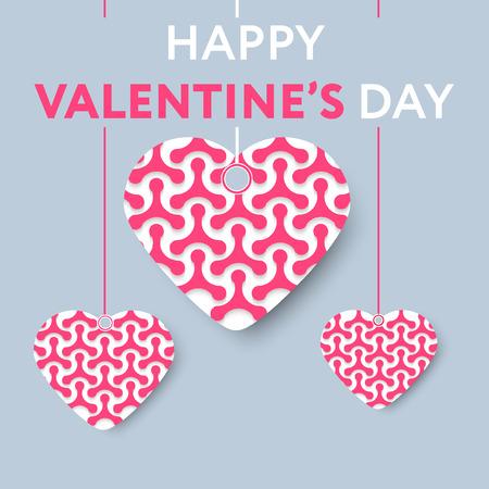 Tarjeta de felicitación para el día de san valentín con los corazones llenos de moléculas de estilo de papel amor. Gran paleta de colores. Diseño del vector. Ilustración de vector