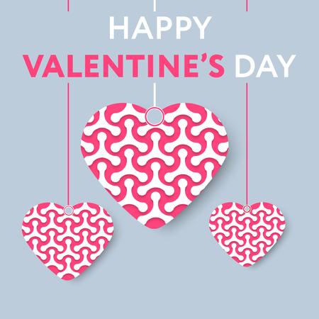 Tarjeta de felicitación para el día de san valentín con los corazones llenos de moléculas de estilo de papel amor. Gran paleta de colores. Diseño del vector.