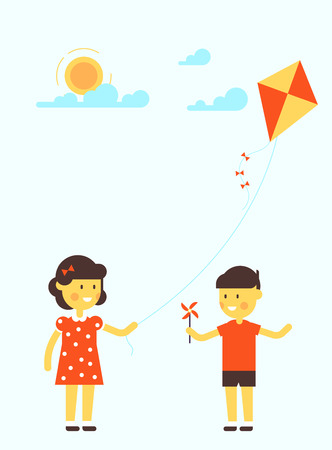Vector illustration of little girl and boy with kite. Flat design. Sweet cartoon. Very easy to recolor or edit illustration. Good for children arts. Illustration