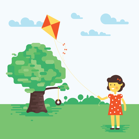 Vector illustration of little girl with kite. Flat design. Sweet cartoon. Very easy to recolor or edit illustration. Good for children arts.