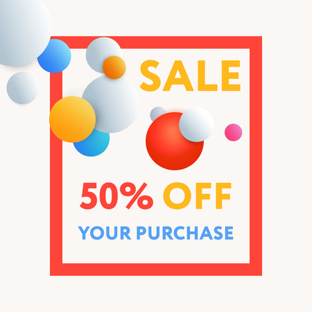 no gradient: Sale web banners template for special offers advertisement. Frame with the volume realistic balls. Trendy colors in a modern material design style.