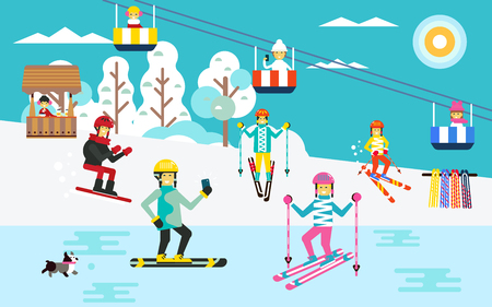 People spending time by sking outdoor. vector flat design illustratuion. Winter Holiday theme. National winter holidays. Happy and healthy vacation. Beautiful nature view.
