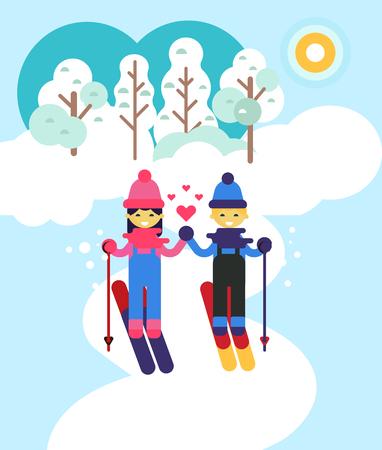 I bambini trascorrere del tempo da sking all'aperto. disegno vettoriale piatta Illustratuion. Vacanze invernali e tema d'amore. festivi invernali. vacanze felici e sani. Bella vista la natura.