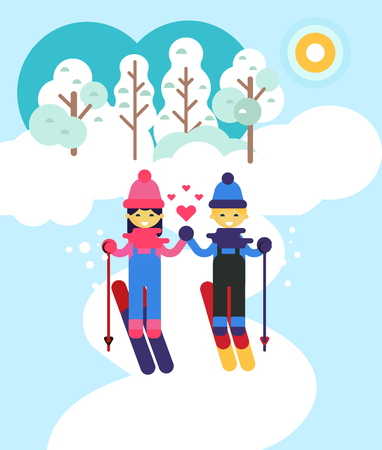 Children spending time by sking outdoor. vector flat design illustratuion. Winter holiday and love theme. National winter holidays. Happy and healthy vacation. Beautiful nature view.