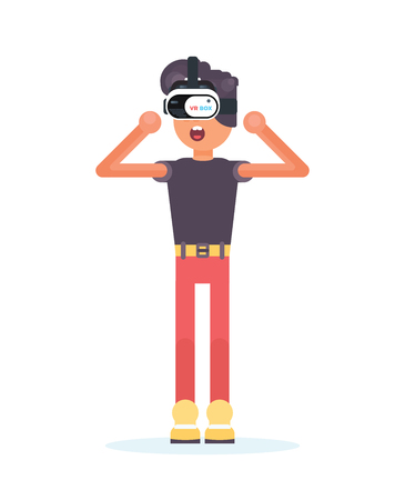 nternet: Cool funny boy wearing virtual reality glasses on white background. Flat design illustration. Good for concept stores and web banners.