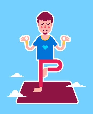 Yoga man character stickers presented in an asanas. Young beautiful man is doing exercises. Fully easy to edit illustration. Perfect for modern lifestyle posters.