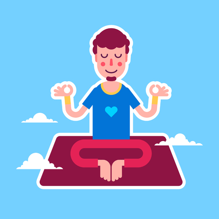 modern lifestyle: Yoga man character stickers presented in an asanas. Young beautiful man is doing exercises. Fully easy to edit illustration. Perfect for modern lifestyle posters.