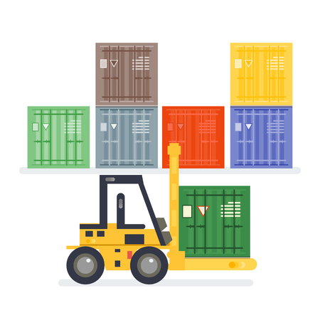 Logistics warehouse with loading truck and working forklift. Modern flat style illustration isolated on white background.