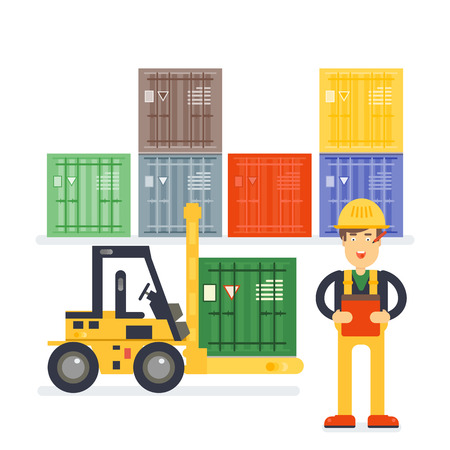 Warehouse worker checking goods pallet onr. Stock taking job. Modern flat style illustration isolated on white background.