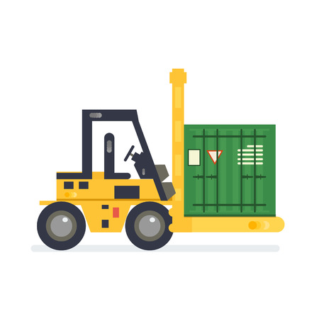 depot: Forklift truck carrying a stacked goods boxes pallet. Modern flat style illustration isolated on white background.