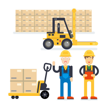 depot: Warehouse and delivery workers. Foreman, manager and delivery boy. Modern flat style illustration.