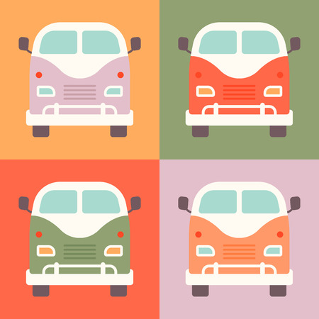 schoolbus: Set of retro styled little buses presented in a different colors. Fully illustration, very easy to edit Illustration