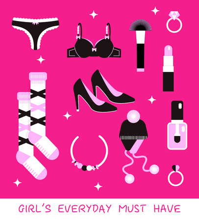 Girl everyday must have vector kit: shoes, tango, pushaup, socks, cosmetics, hat, diamond rings.