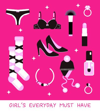 paraphernalia: Girl everyday must have vector kit: shoes, tango, pushaup, socks, cosmetics, hat, diamond rings.