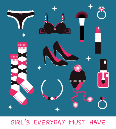 camisole: Girl everyday must have vector kit: shoes, tango, pushaup, socks, cosmetics, hat, diamond rings.