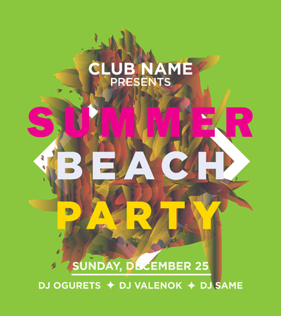 social gathering: web banner or print poster for summer beach party. great concept for club and party promotion and advertisement. vector illustration, vector background Illustration