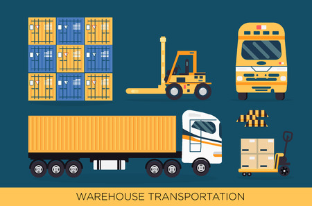 Cool delivery service concept background. Logistics in business and industry. Local supply chain. Merchant shipping vector illustration with small cargo delivery truck and forklift loading container  イラスト・ベクター素材
