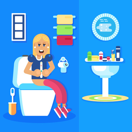 baby toilet seat: Young girl seating in the toilet with the pregnancy test with the positive pregnancy result. She is smiling and happy. Good pregnant character. Flat vector design. Illustration