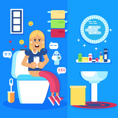 chat room: Young girl seating in the toilet with the smart phone and chats in the social networks. She is smiling and happy. Good pregnant character. Flat vector design. Illustration