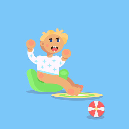 Little child, todler, baby character sitting on the champerpot and peeing. Flat design vector illustration. Babysitting concept. Vector art. Illustration