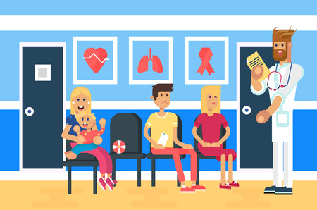 The indoor hospital with the clue of patients, adults and baby character. Doctor character. Hospital entity, life care industry. Vector flat design illustration.