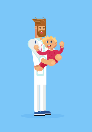 The pediatrist with the child. Doctor and baby characters. Hospital entity, life care industry. Vector flat design illustration.