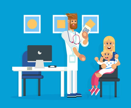 The hospital cabinet with the pediatrist and mother and the child . Doctor character. Hospital entity, life care industry. Vector flat design illustration. Иллюстрация