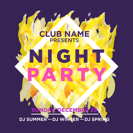 web banner or print poster for NIGHT beach party. great concept for club and party promotion and advertisement. vector illustration, vector background