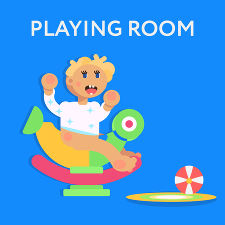 Little child, todler, baby character sitting on the toy and playing. Flat design vector illustration. Playing room for children concept. Vector art.