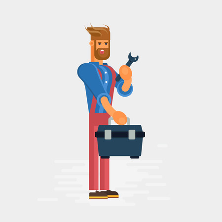 tool kit: Plumber character with the professional tool kit and wrench. Cool concept for plumbing services banners and advertisements, web banners.