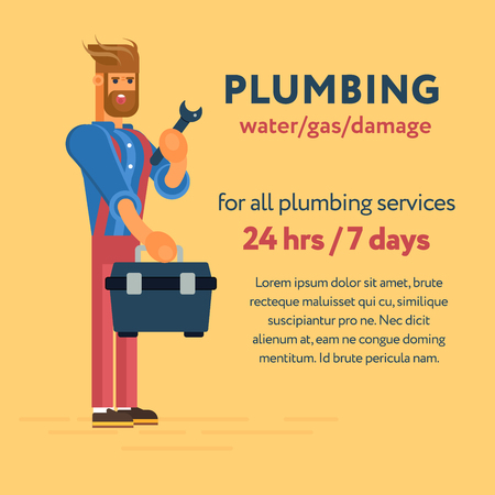 tool kit: Plumber character with the professional tool kit and wrench. Cool concept for plumbing services 247 banners and advertisements, web banners.
