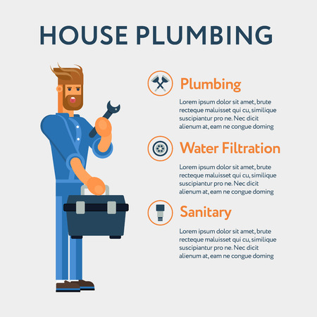 tool kit: Plumber character with the professional tool kit and wrench and icon kit. Cool concept for plumbing services banners and advertisements, web banners. Illustration
