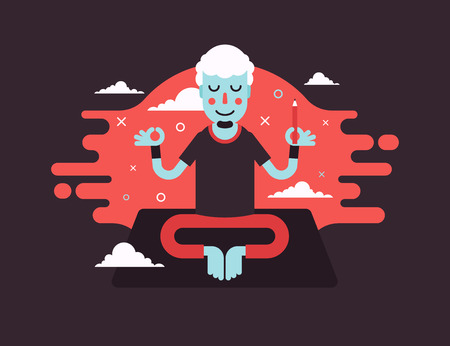 Yoga man designer character stickers presented in an asanas. Young beautiful man is doing exercises. Fully easy to edit vector illustration. Perfect for modern lifestyle posters.