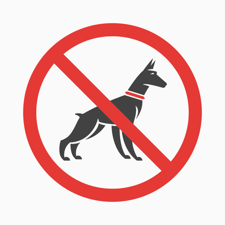 Logo or information plate design for no pee, no dog walking plates with doberman silhouette. Vector, flat design.