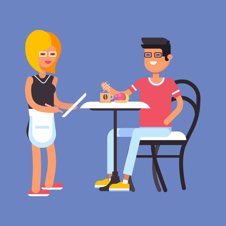 ice tea: Couple of characters in the restaurant or in the cafe, she is a waitress, he is making order. vector flat design illustration.