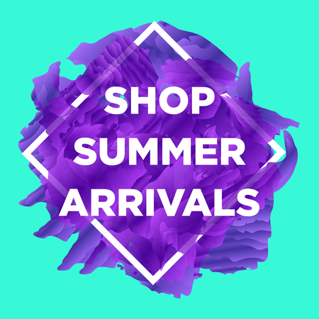 New arrivals and summer collection concept for internet stores promo. New collection web banners. Material design trendy colors. Illustration