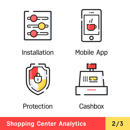 centers: Set of vector icons for rstat industry. Range of signs for shopping centers business. Management staff.