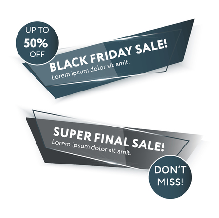Sale web banners template for black friday advertisement. Frame with the sales text. Trendy colors in a modern material design style. Glow trendy style.