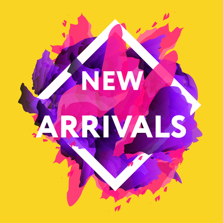 New arrivals concept for internet stores promo. New arrivals web baners. Material design trendy colors.