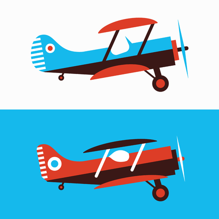 Set of retro planes in different trendy colores. Flat design illustration. Good colors. Very easy to edit. Çizim