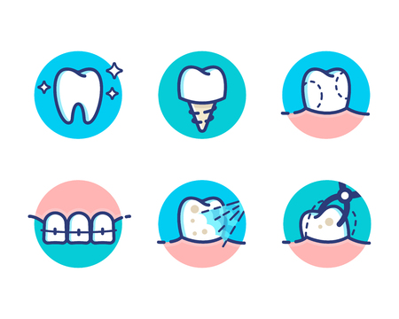 Health Dent Icon Pack Design Vector Flat Line Style Cosmetic Dental Dentistry Surgery