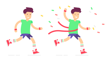 The young couple characters finishing and winning marathon. Pretty boys with the players and the professional app. Vector flat illustration. Very easy to edit. Illustration
