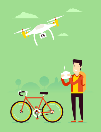 Remote aerial drone with a camera taking photography or video recording and man with the remote control managing copter. Vector art on isolated background. Flat design.