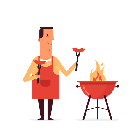 Barbecue tools, grill anf forks with the man character . Grilled sausages on forks on the white background. Illustration in a flat style. Fully editable vector.