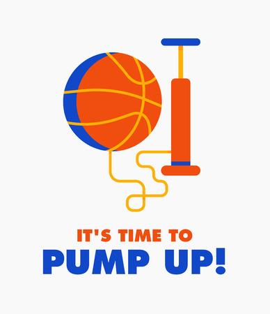 inflating: Basketball ball with the pump vector design flat illustration. Cool concept for sport poster, game announcement and promo.